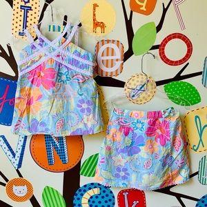 Gymboree Floral Skirt and Top Set Sz 4 VGUC